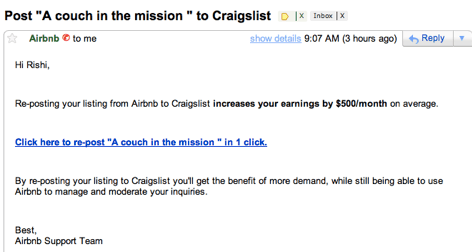 Airbnb Craigslist Listing Email