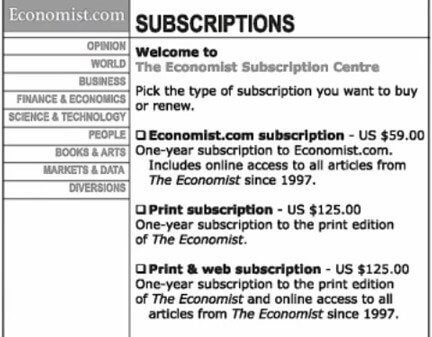 The Economist Pricing Experiment