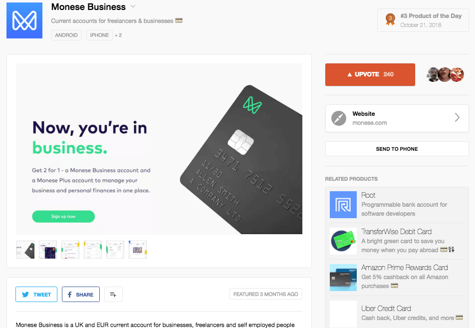 Monese Business on Product Hunt
