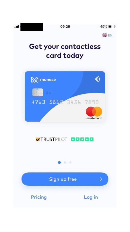Monese on iOS