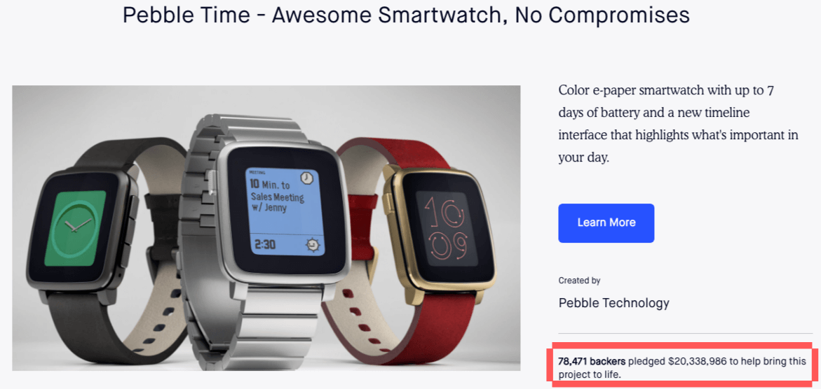 Pebble Time Crowdfunding Campaign