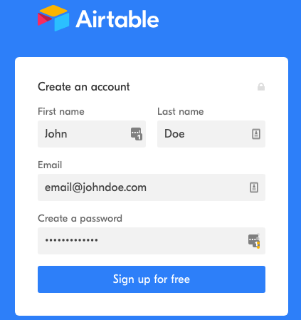Airtable Sign Up