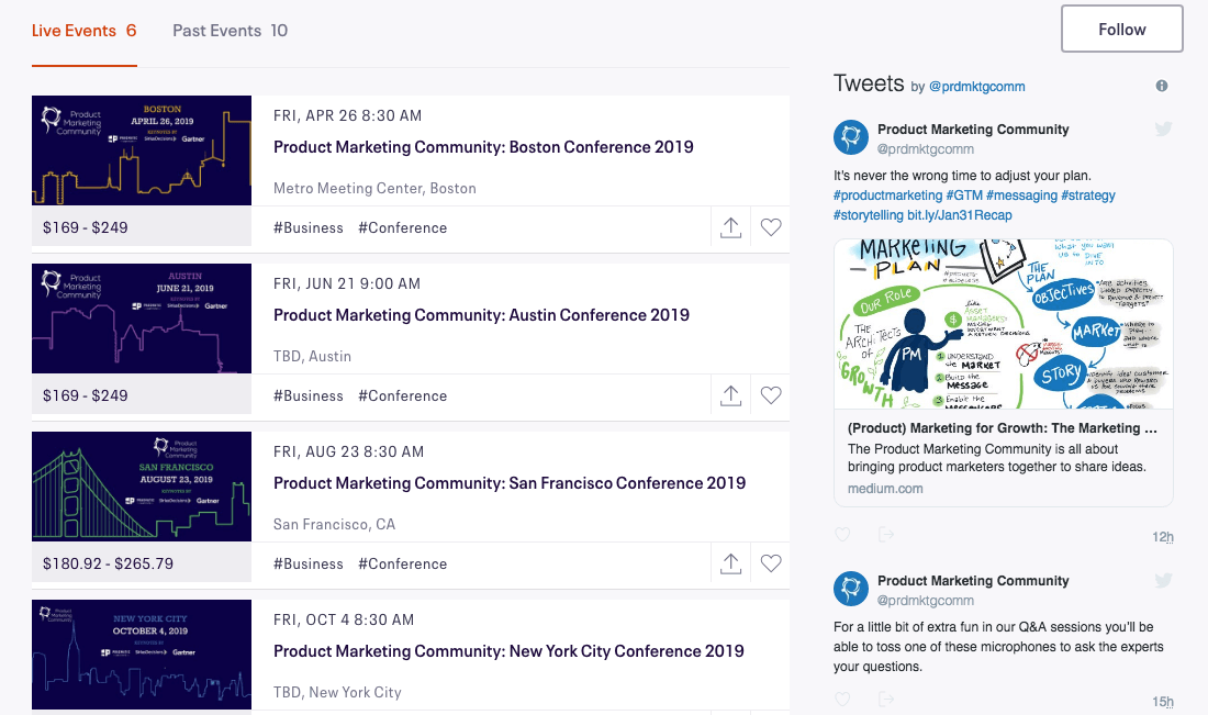 Product Marketing Community Events 2019