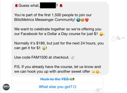 BlitzMetrics Messenger Message 2