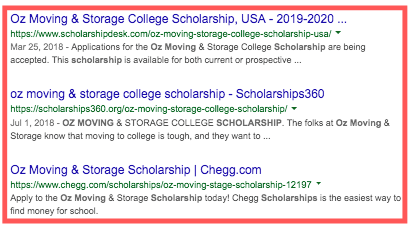 OZ Moving Scholarship Backlinks
