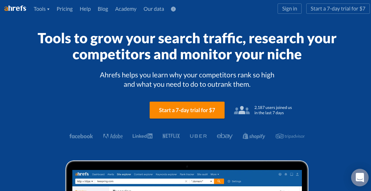 Ahrefs Website. Screenshot.