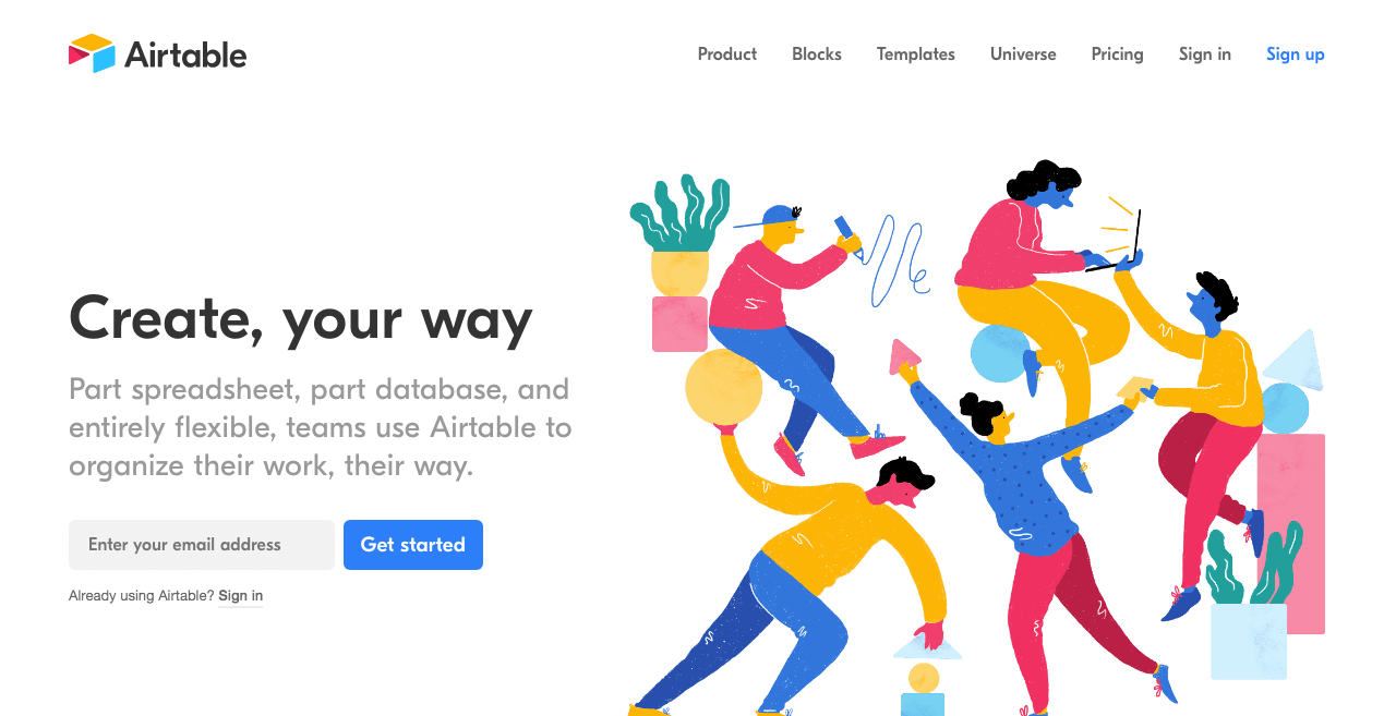 Airtable Website. Screenshot.