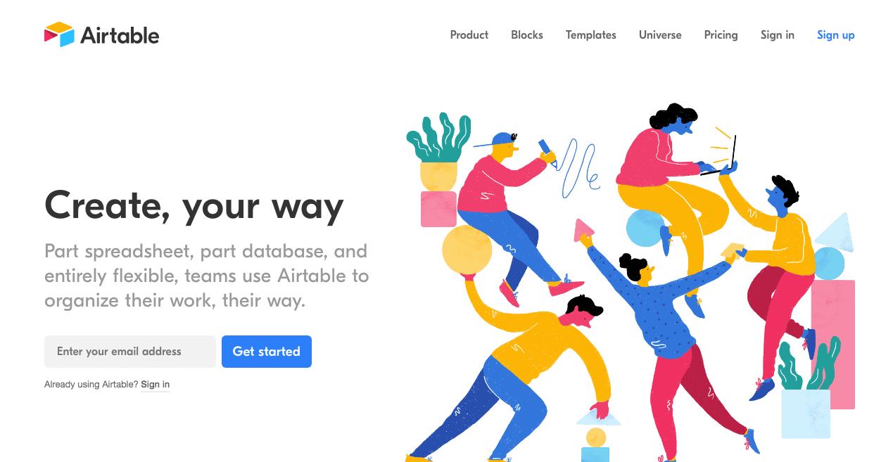 Airtable Website. Screenshot.