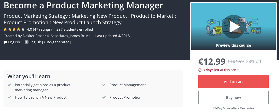 Become a Product Marketing Manager by Udemy