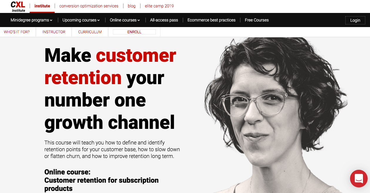 Customer Retention for Subscription Products by CXL Institute