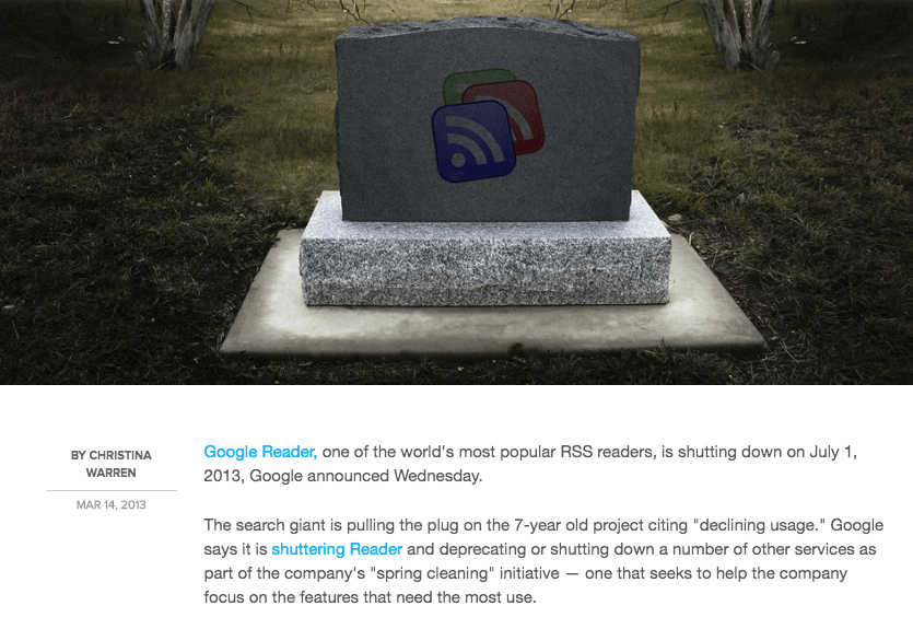 Google Reader Shuts Down - Mashable Article