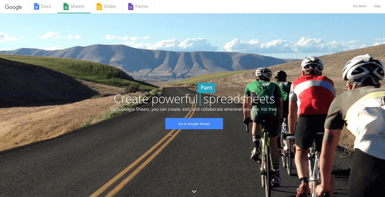 Google Sheets Website. Screenshot.