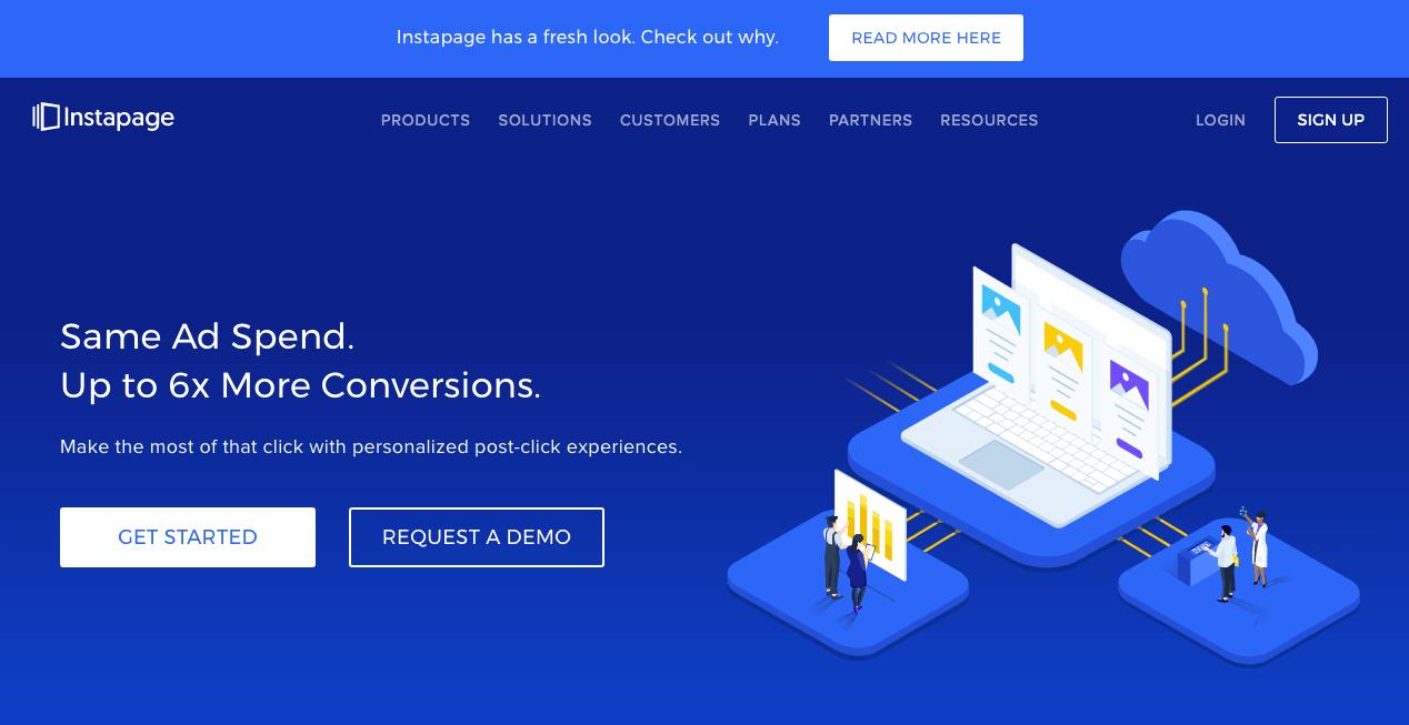 Instapage Website. Screenshot.