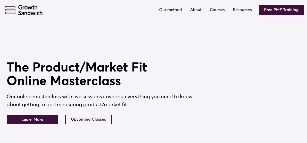 The Product- Market Fit Online Masterclass by GrowtSandwich