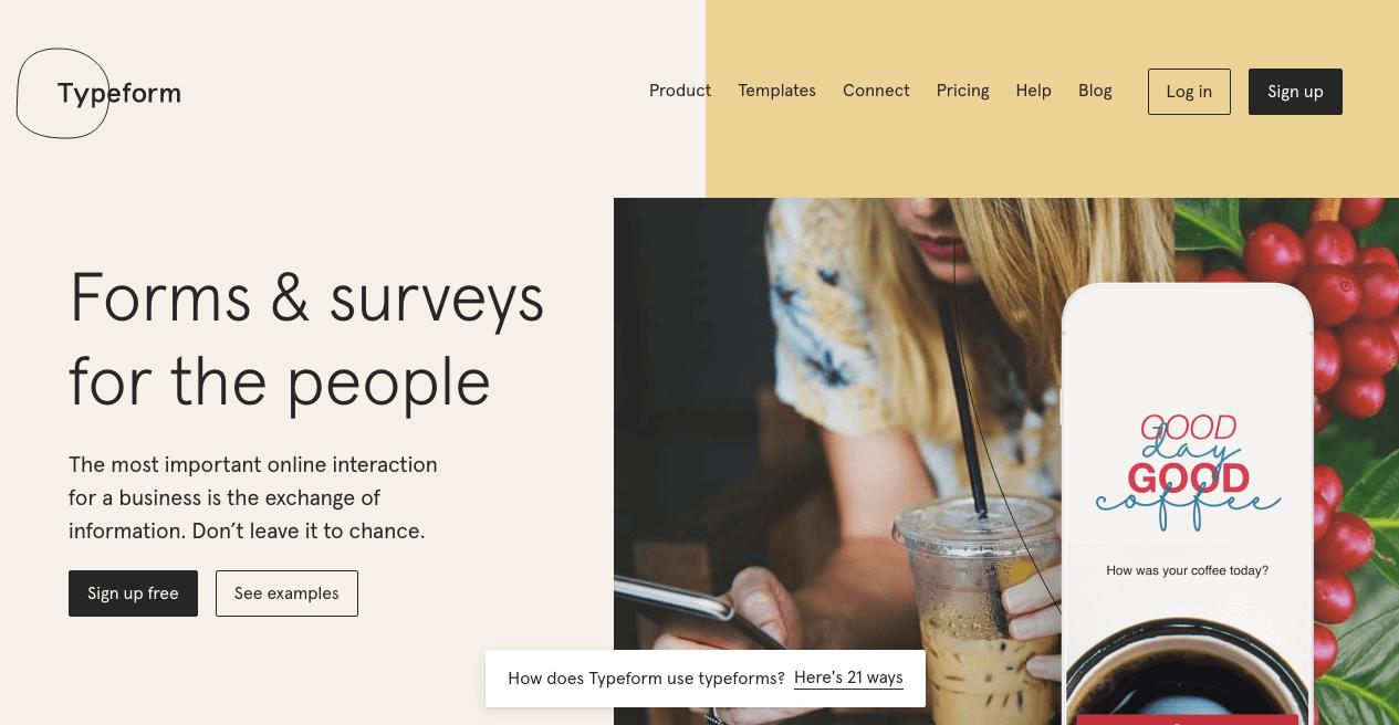 Typeform Website. Screenshot.