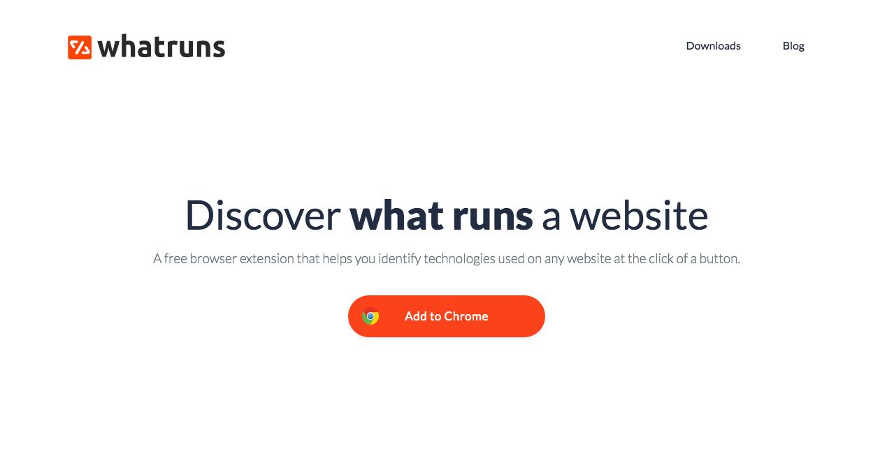 Whatruns Website. Screenshot.