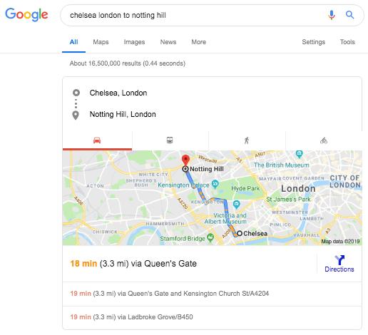 Chelsea to Notting Hill on Google