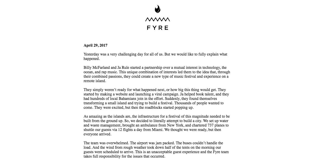 FyreFestival.com - Apologie