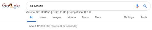 SEMrush on Google Search