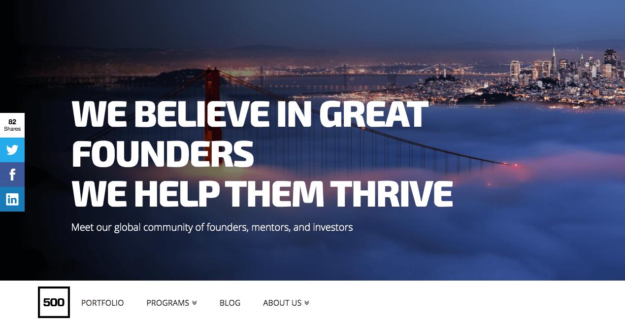 500 Startups Homepage.