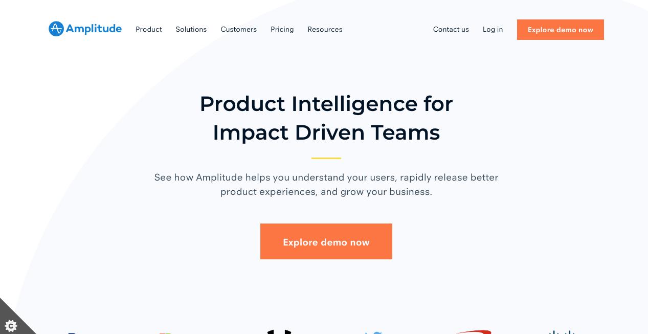 Amplitude Homepage. Screenshot.