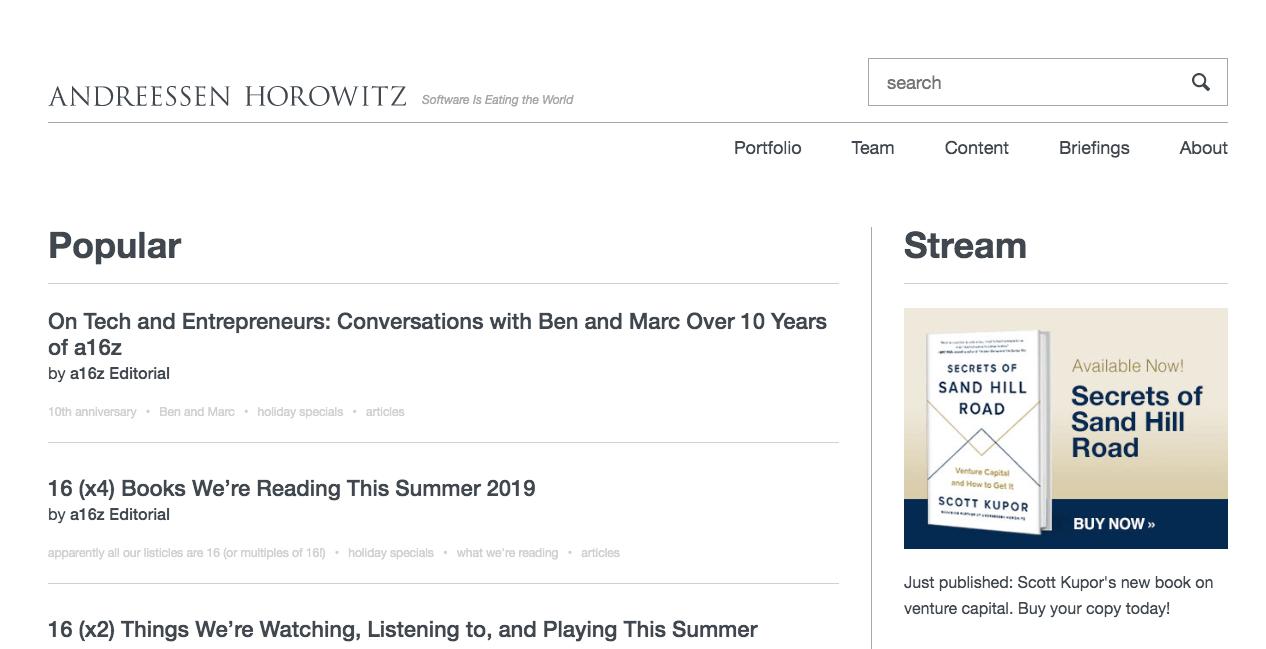 Andreessen Horowitz Homepage.