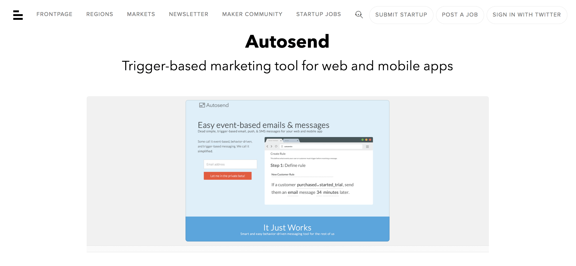 Autosend Homepage. Screenshot.