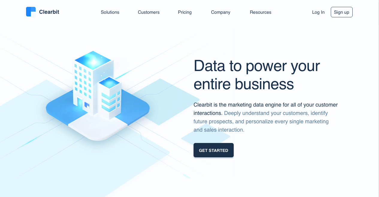 Clearbit Homepage. Screenshot.