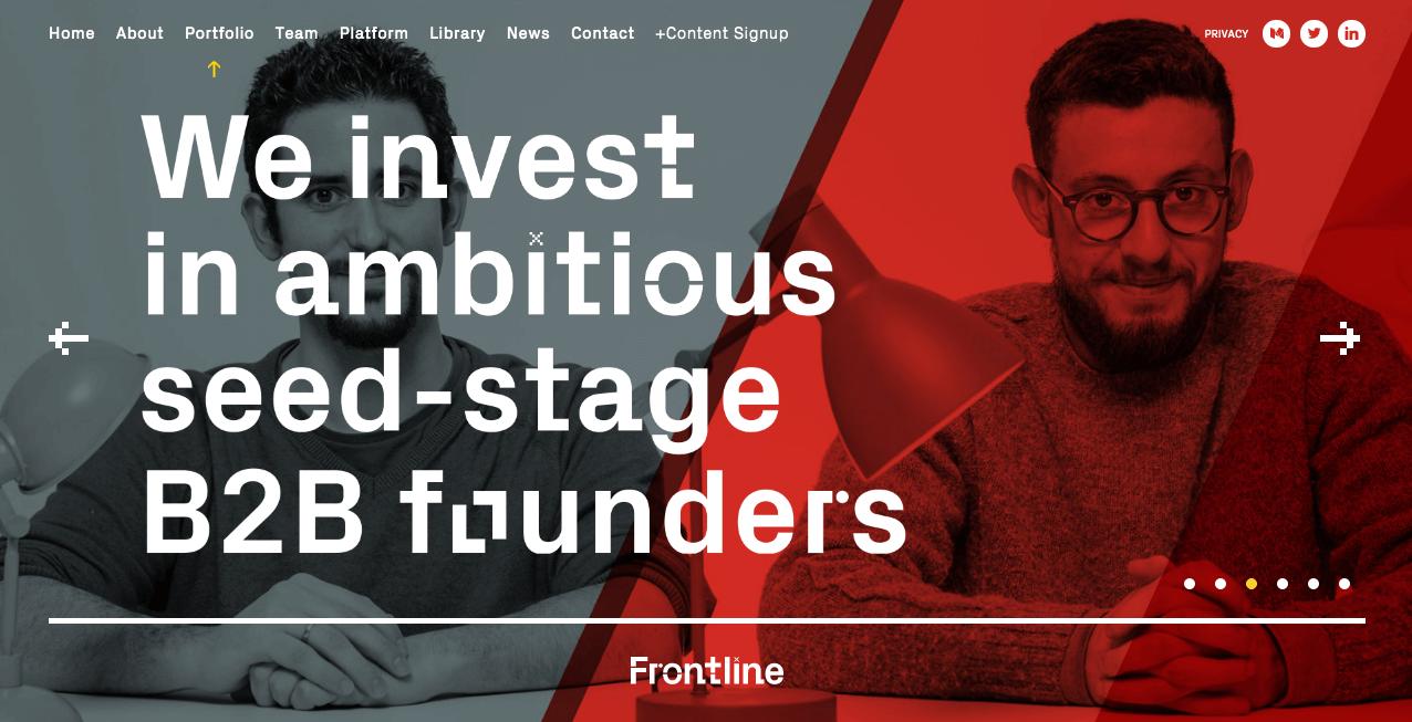 Frontline Ventures Homepage.