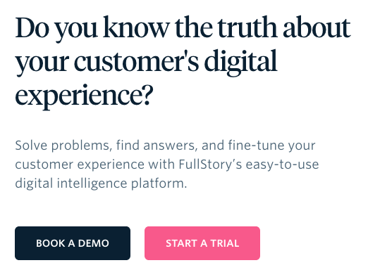 FullStory Free Trial. Screenshot.