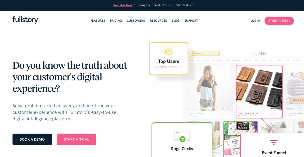 FullStory Homepage. Screenshot.