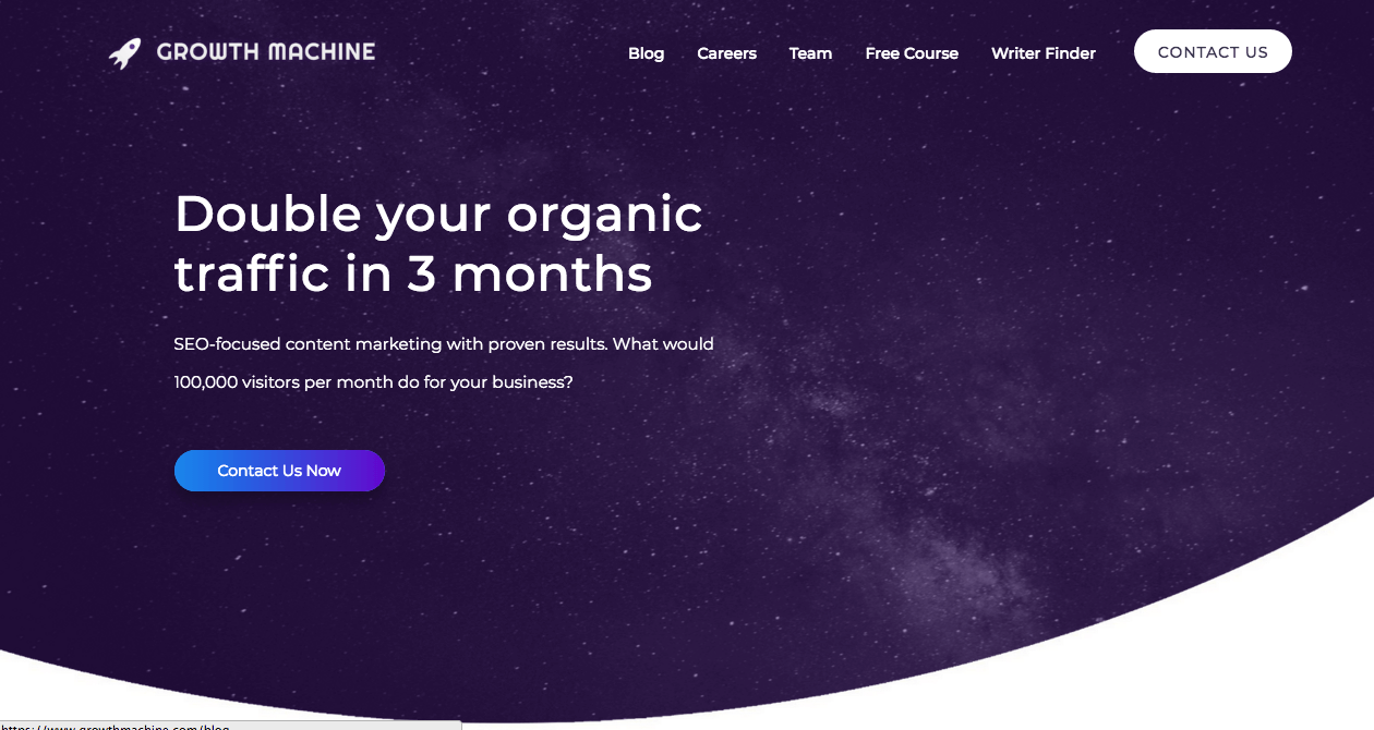 Growth Machine Homepage. Screenshot.