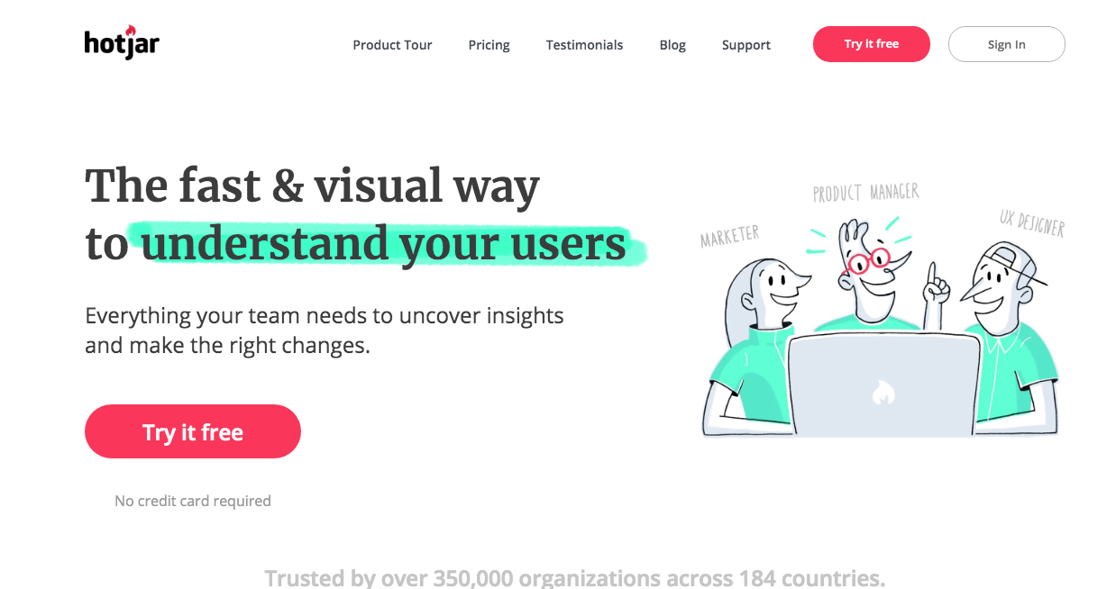 Hotjar Homepage. Screenshot.