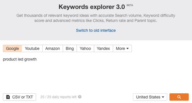 Insert Keyword on Ahrefs Keyword Explorer. Screenshot.