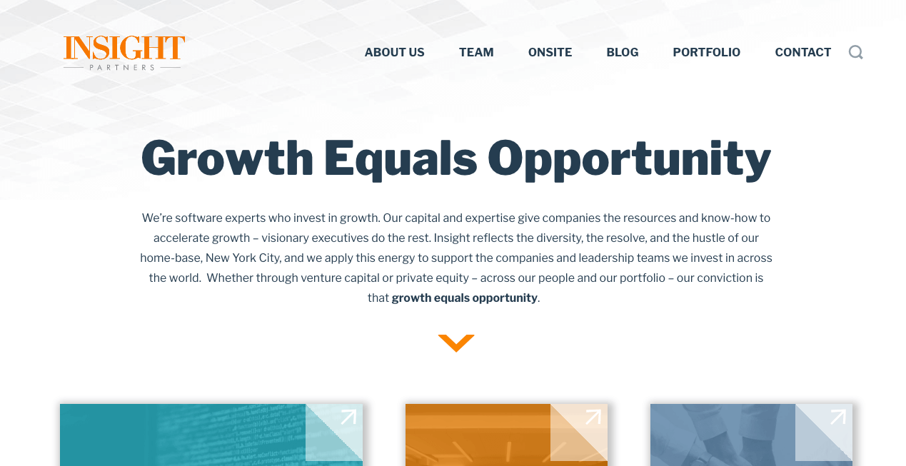Insight Venture Partners Homepage.
