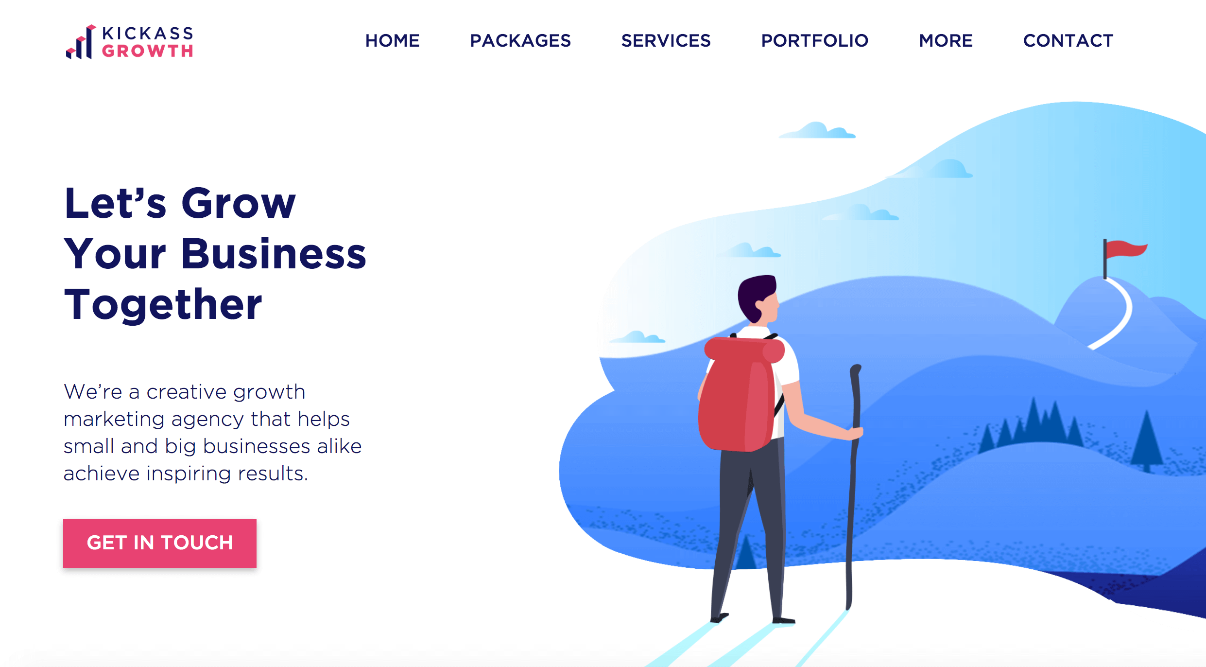 Kickass Growth Homepage. Screenshot.