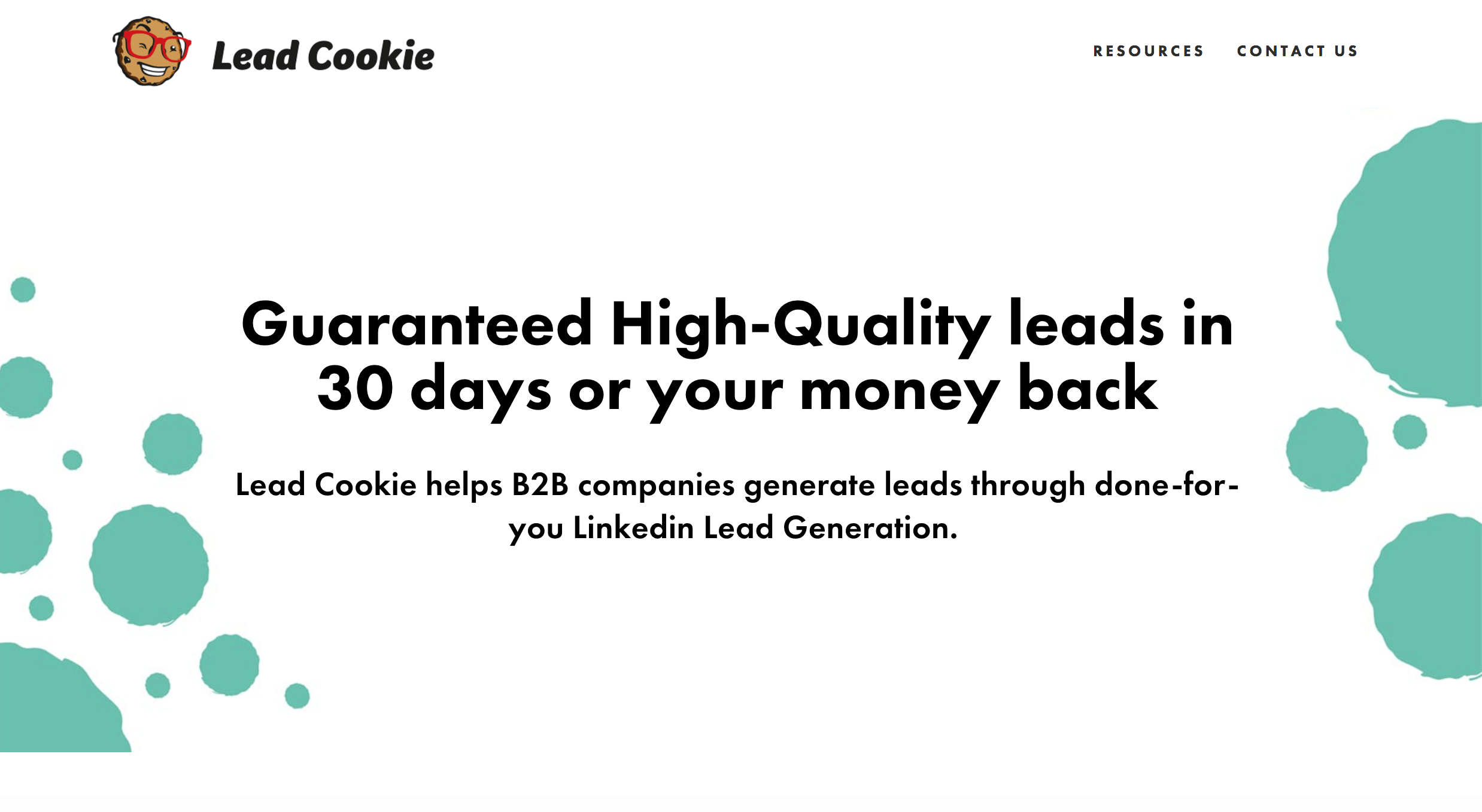 Lead Cookie Homepage. Screenshot.