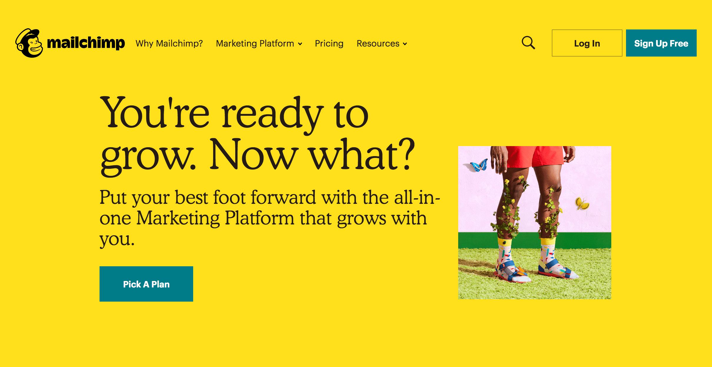 Mailchimp Homepage. Screenshot.