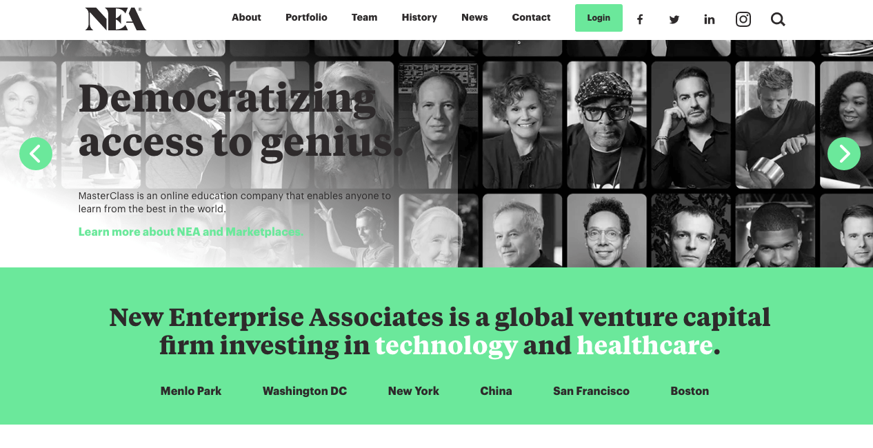New Enterprise Associates Homepage.