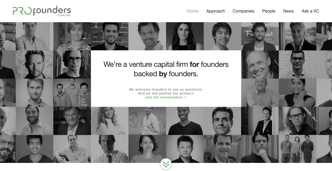 PROfounders Capital Homepage.