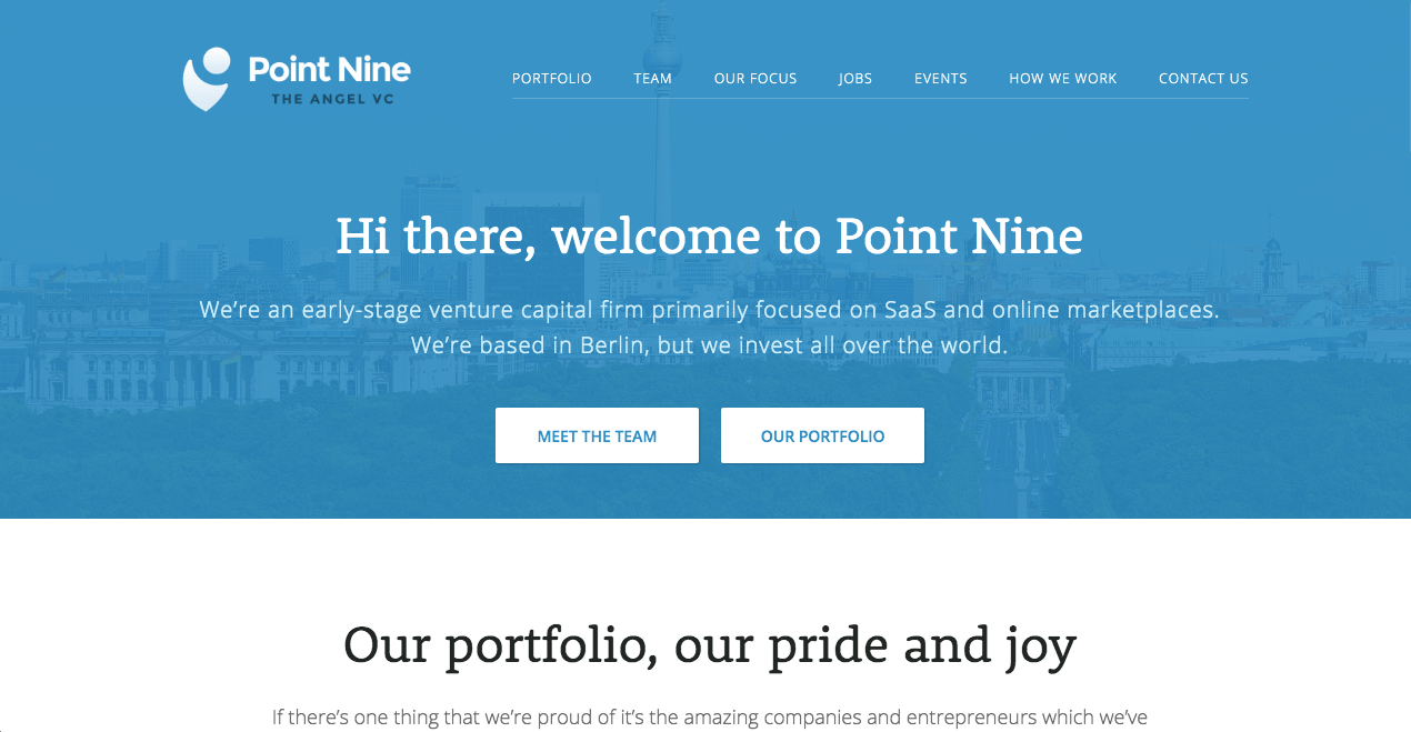 Point Nine Homepage.