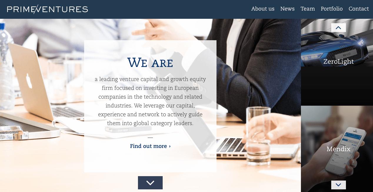 Prime Ventures Homepage.