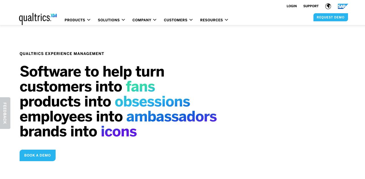 Qualtrics Homepage. Screenshot.