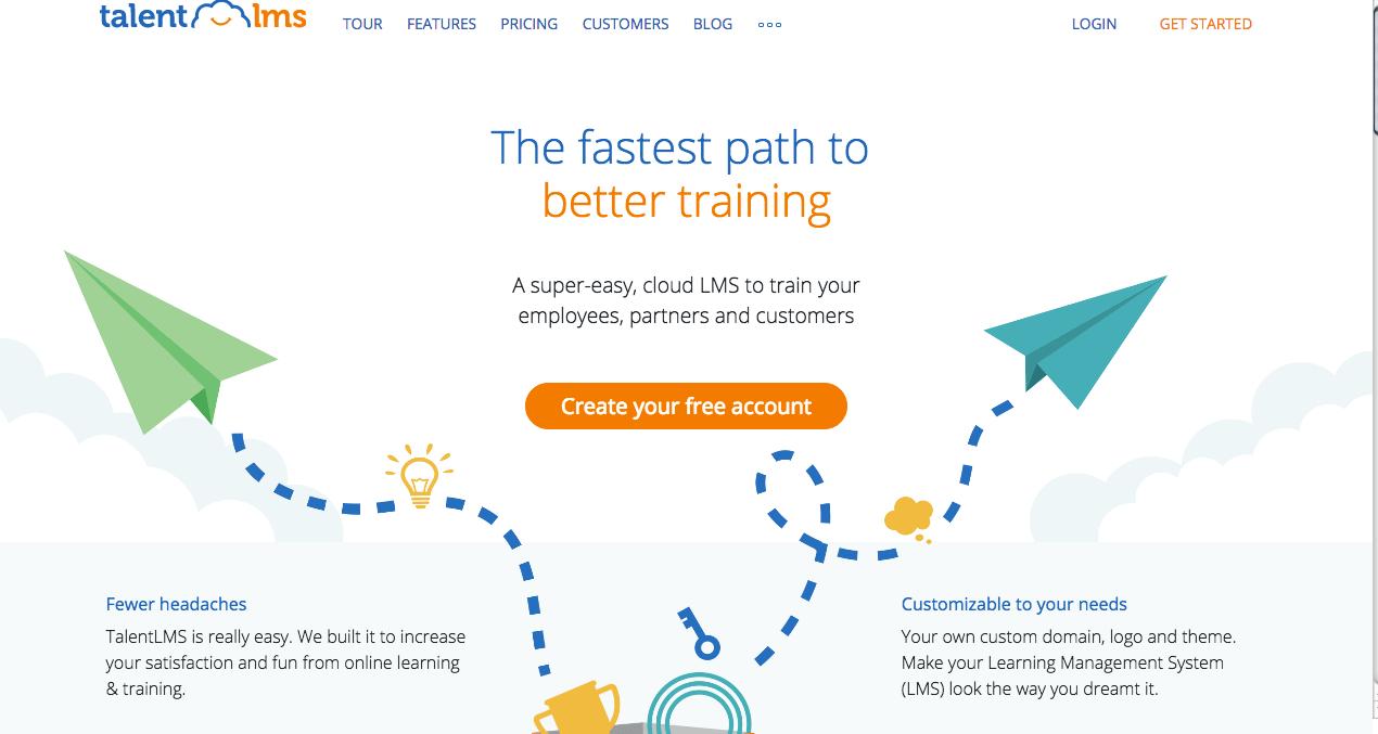 Talent LMS Homepage. Screenshot.