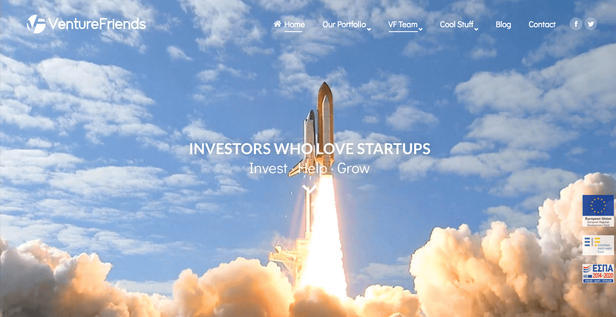VentureFriends Homepage.