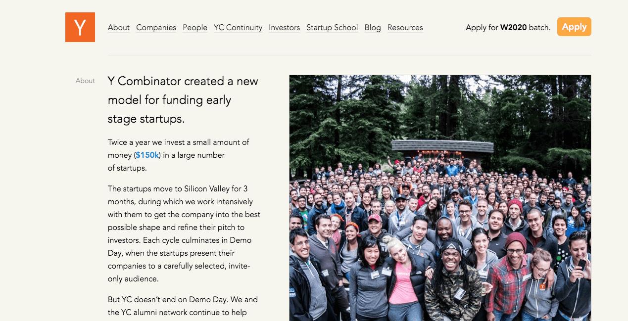 Y Combinator Homepage.