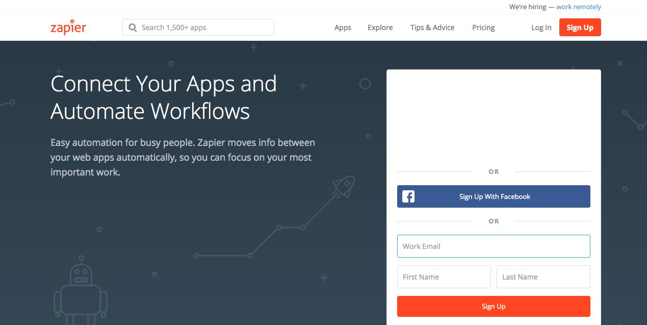Zapier Homepage. Screenshot.
