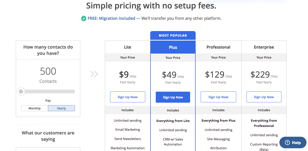 ActiveCampaign Pricing. Screenshot.