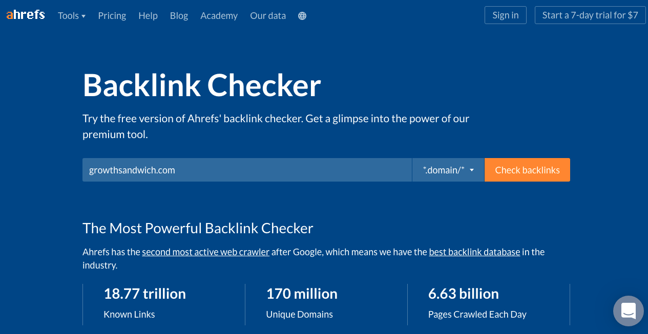 Backlink Checker by Ahrefs
