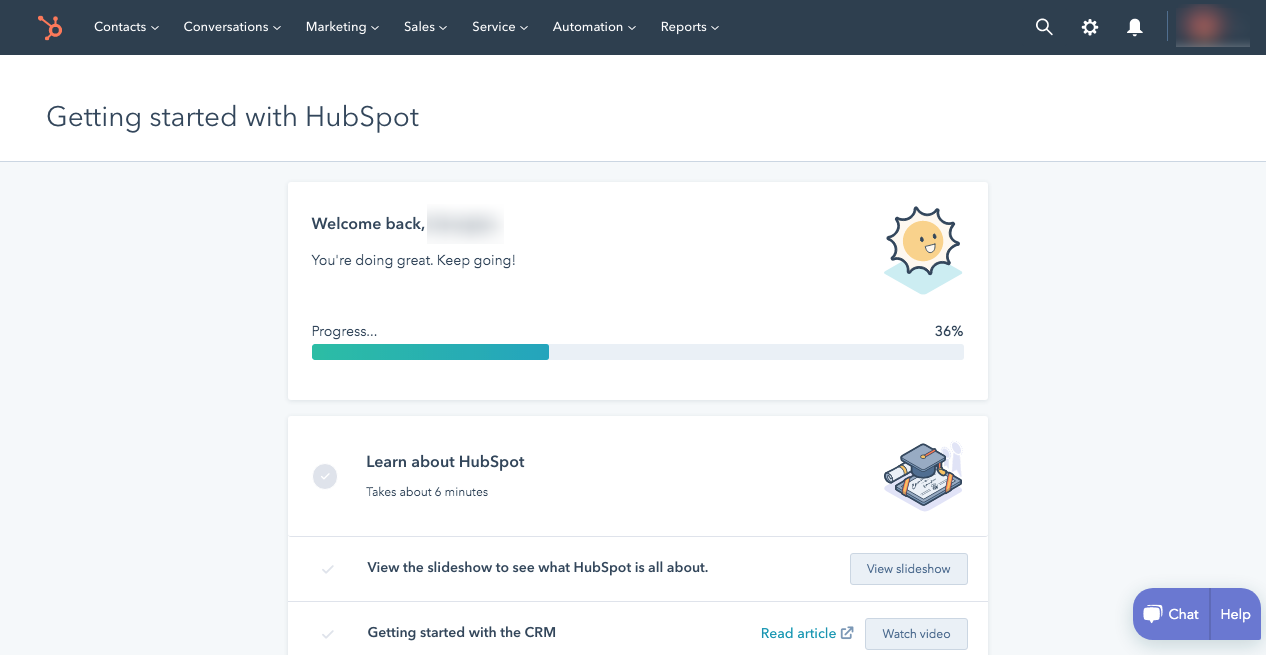 Hubspot In app Experience